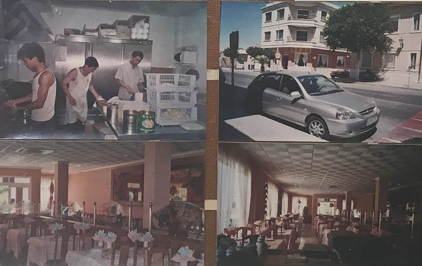 Photos of Chinese emigrants who set up a catering business in Spain. Courtesy of Qiu, another villager