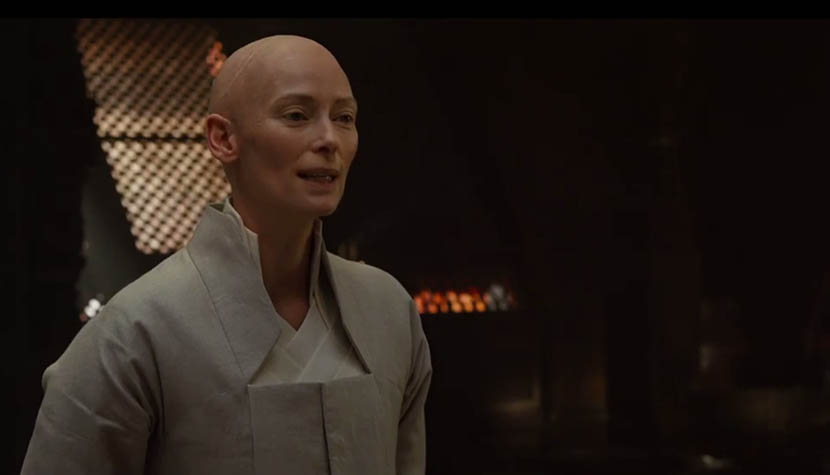 A screenshot from the trailer of 'Doctor Strange' shows the Ancient One, played by Tilda Swinton.